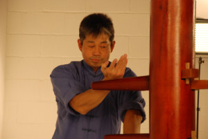 Master Tse demonstrating the wooden dummy form.